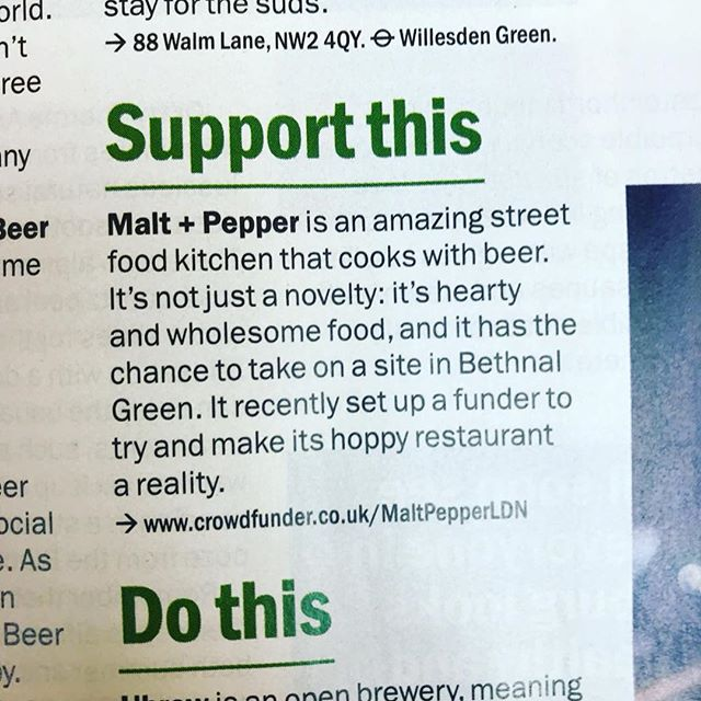 Good morning and happy Tuesday @timeoutlondon.  #cookingwithbeer #crowdfunding #supportthis #timeout #london #wtf #bethnalgreen #restaurant