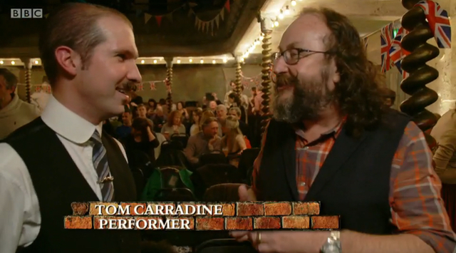 "Being interviewed by Dave Myers on BBC Two's ""The Hairy Builder"" at Wilton's Music Hall"