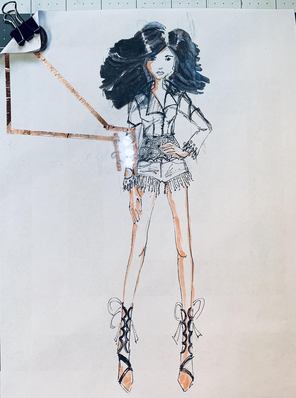 fashion sketch paper circuit