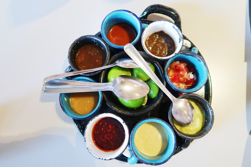 All kinds of yummy and super spicy salsas