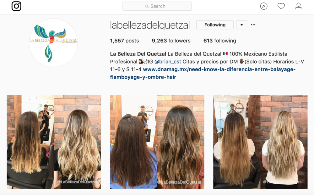 Check out their IG... - If you're ever in CDMX & need a good hair cut or color or whatever, THIS is your guy - Brian at La Belleza Del Quetzal [click the photo to go directly to their IG].
