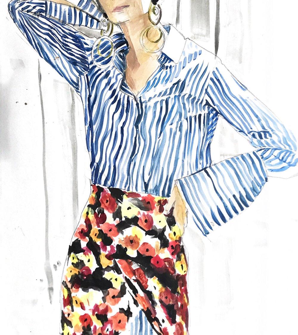 selfih wardrobe pandora sykes stripe shirt illustration