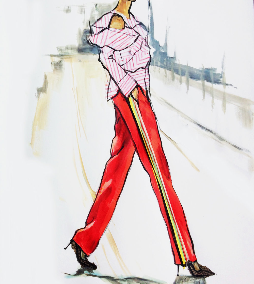 stripes sketch of Tamu McPherson - selfish wardrobe
