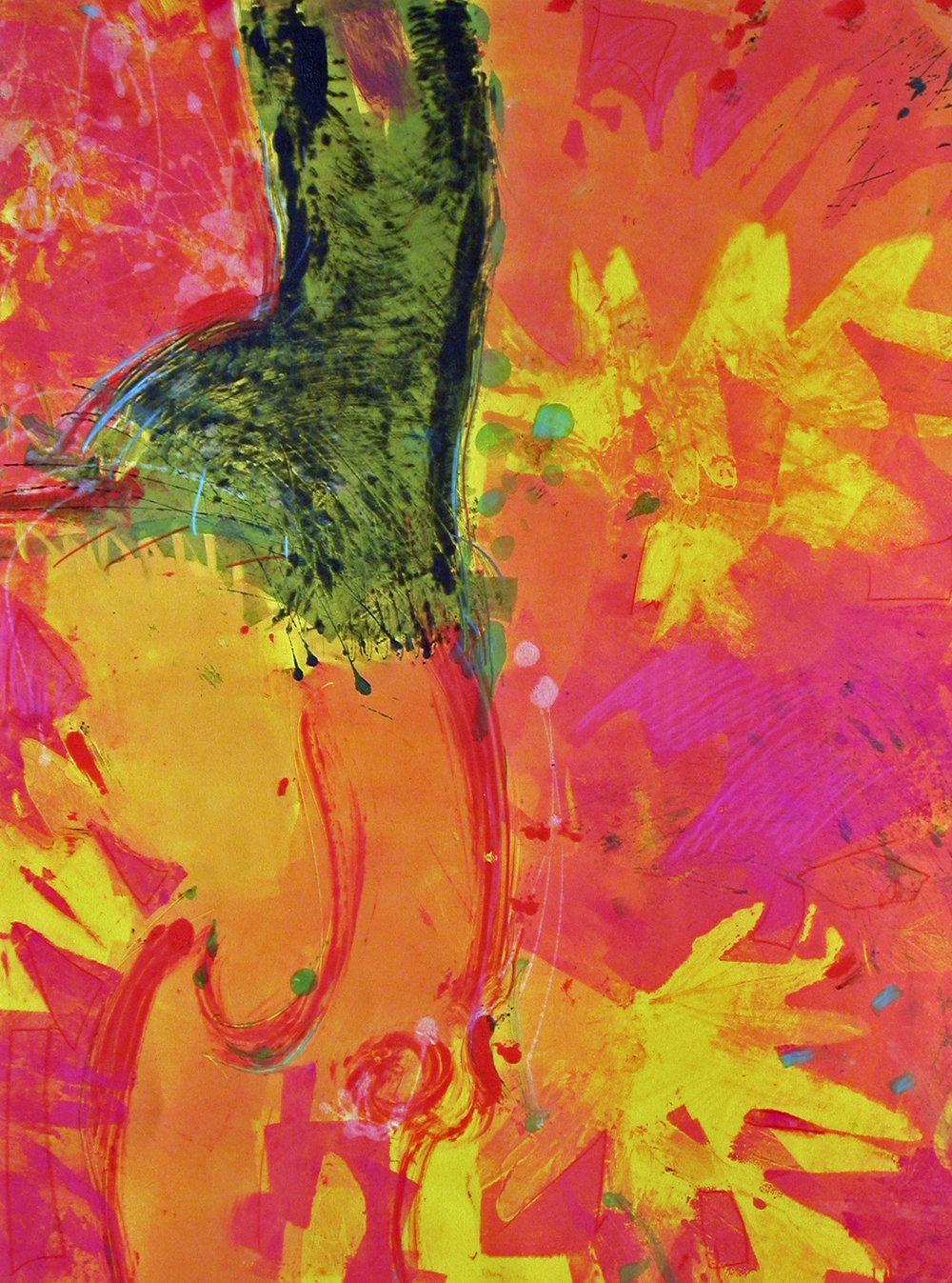 Dancer  - Monotype, Oilbar, Stencil, 30x22, 2010