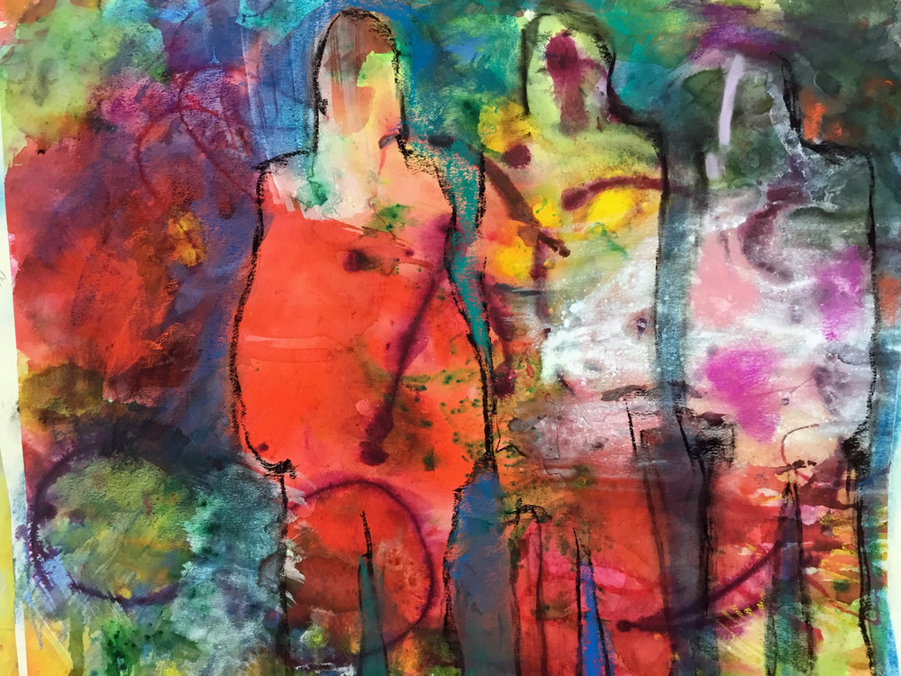 Inner Worlds  - Dye, Acrylic, Pastel
