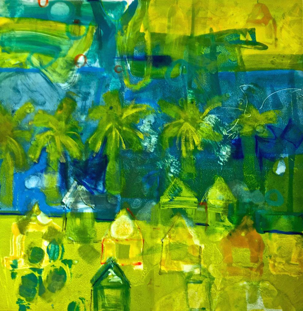 Island Hopping - Monotype, Viscosity, Pigment, 18x18, 2016