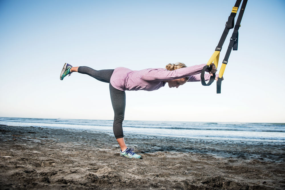 TRX training - assisted dancer pose