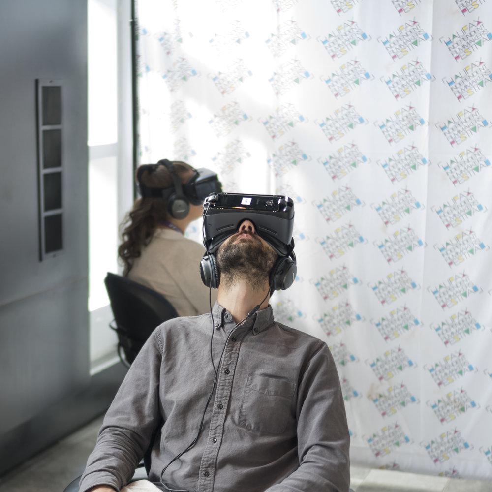 Guests enjoy imagineNATIVE Virtual Reality. Photo by Monika Gajewski.