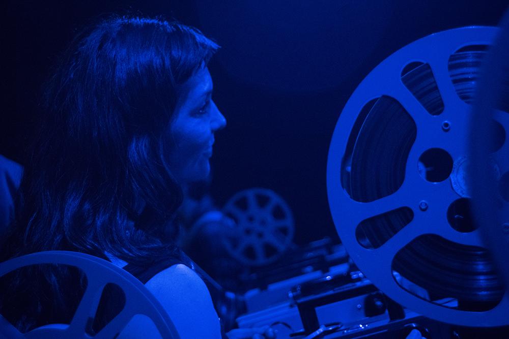 Lindsay McIntyre's expanded cinema performance. Photo by Monika Gajewski.