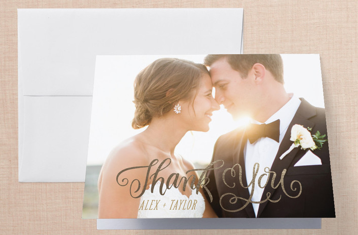 Happily Ever After Begins Foil-Pressed Thank You Cards