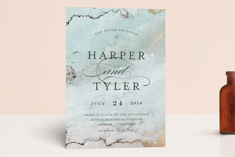 Gilded Shore Foil-Pressed Wedding Invitations