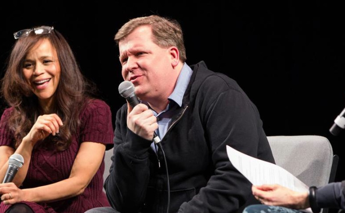 Rosie Perez and playwright David Lindsay-Abaire (Photo: David Andrako)