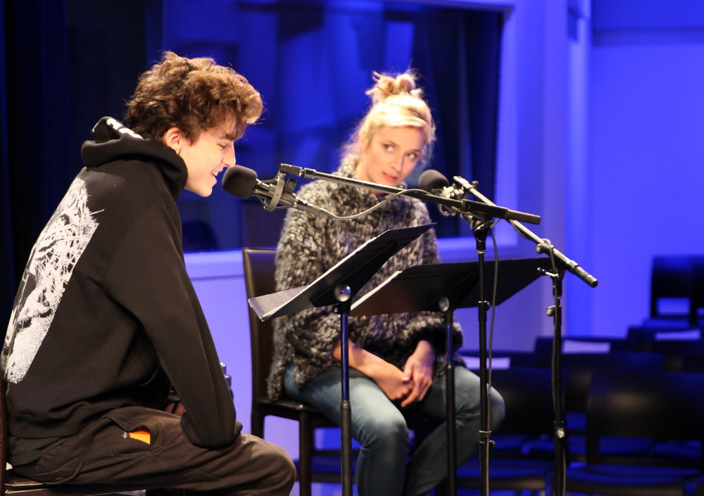 Timothée Chalamet and Caitlin FitzGerald recording John Patrick Shanley's Tennessee.