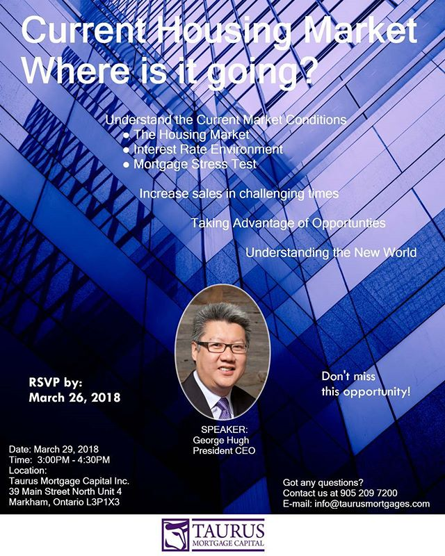 Taurus Mortgage Capital is welcoming all Realtors to join us for a presentation regarding the current Housing Market. In this presentation, we will go over the current housing market conditions, how to increase sales in these challenging times and better understand the new world. #realestate #mortgage #mortgagebroker