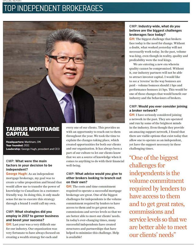 Taurus Mortgage Capital was recognized by CMP Magazine as one of the Top Independent Mortgage Brokerages in Canada. CMP conducted an interview featuring @ghugh1999 . https://issuu.com/keymedia/docs/cmp13.3/28 . . . . . . . . . . . #mortgagebroker #mortgage #bestmortgagebroker #markham