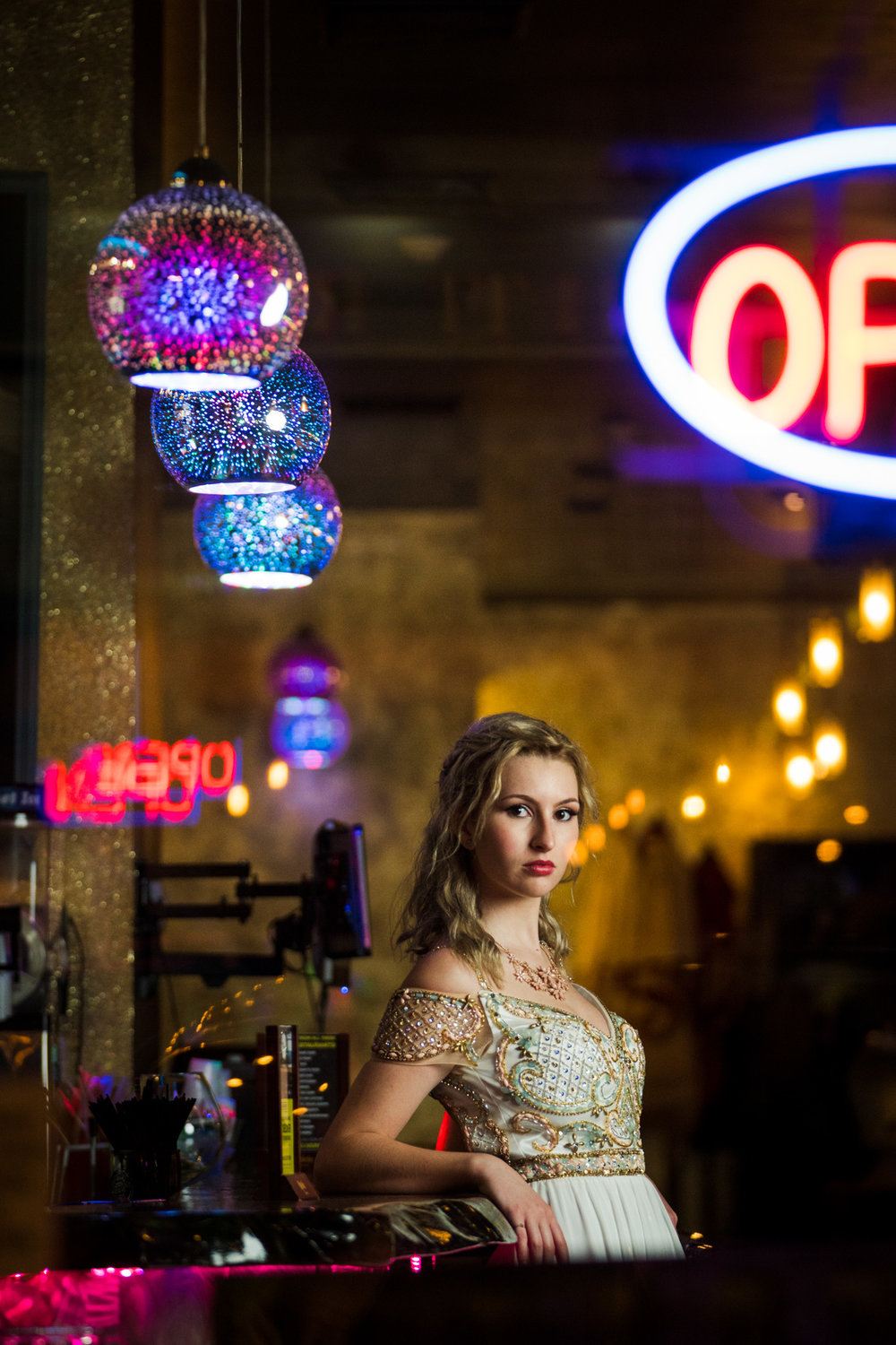 Model with neon signs