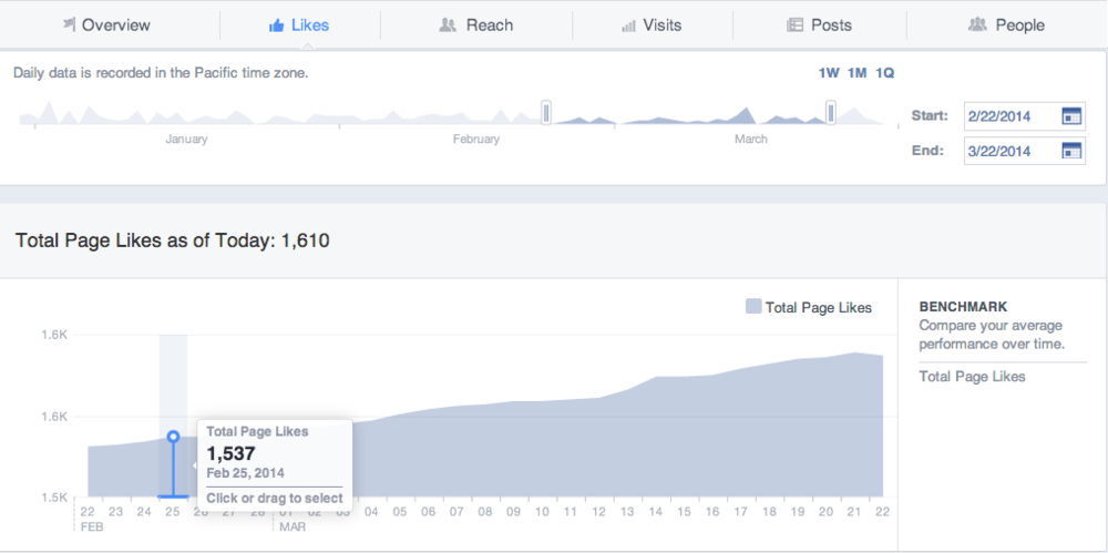 Facebook Insights chart displaying the increase in page likes over one month
