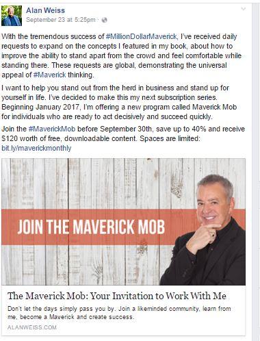 Facebook Promotion- Alan Weiss