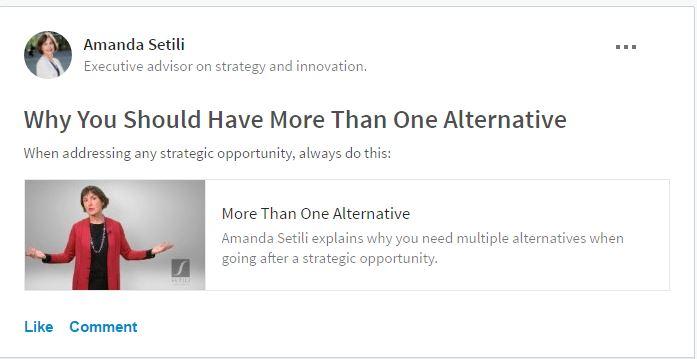 LinkedIn Group Post- Amanda Setili