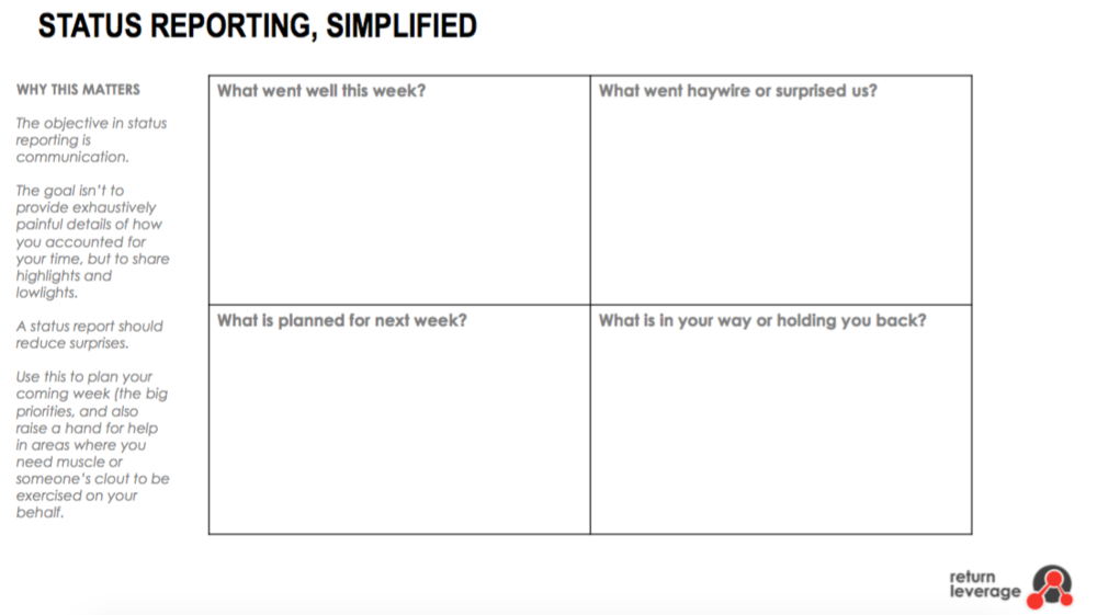 A status report can be as simple as this.  Download this simple template.