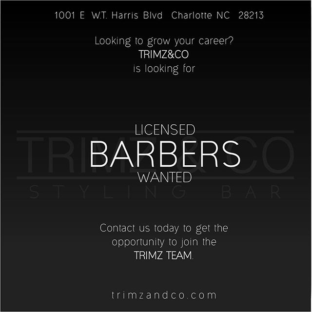 Want to advance your career at a great location? The TrimzTeam is ready for you! If interested contact us via phone or email. Welcoming all licensed barbers that want to come be a part of great team and service