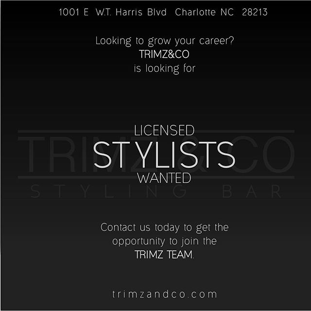 Want to advance your career at a great location? The TrimzTeam is ready for you! If interested contact us via phone or email. Welcoming all licensed stylists that want to come be a part of great team and service