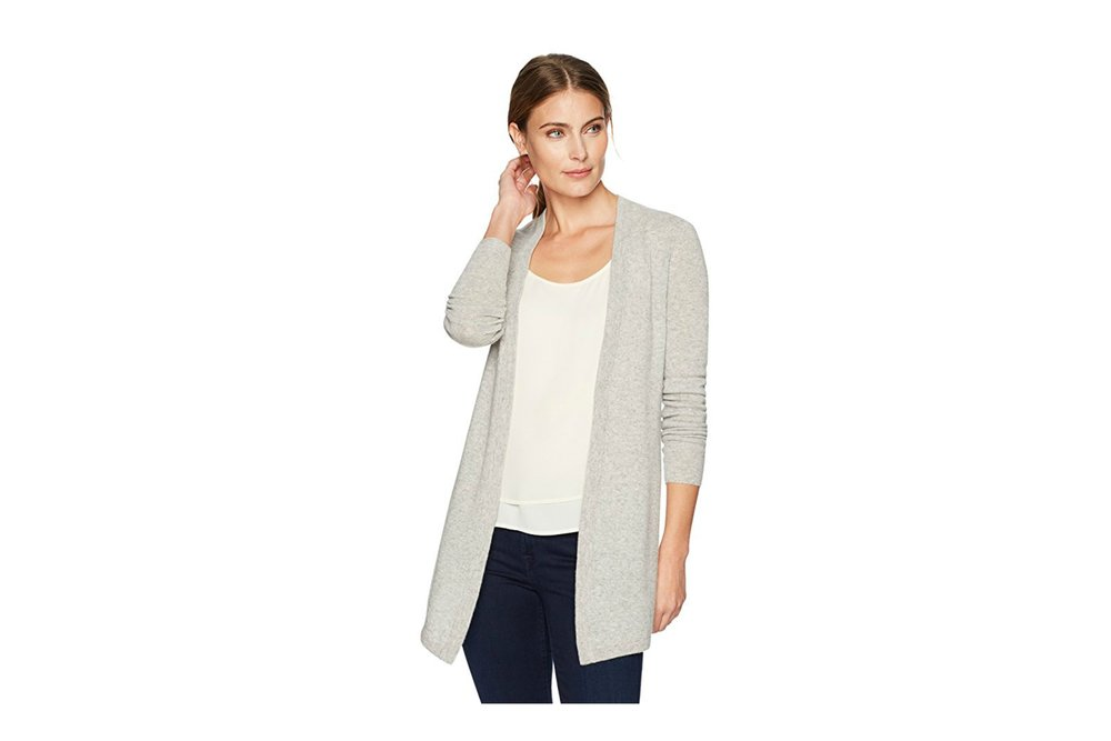 Cashmere Drapey Open-Front Cardigan