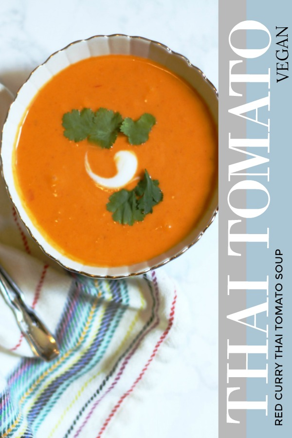 Give your cream of tomato soup a Thai twist with a combination of red curry paste and coconut milk. This tomato soup is comforting and still has a spice.  Its #Vegan + #Glutenfree + # instantpot + #healthycomfortfood #tomatosoup