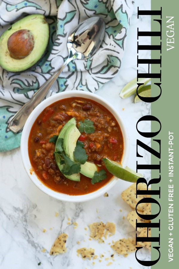 Chorizo Chili, chili that's more than tomato and beans. This is a winner, three bean chili with flavorful chorizo that is vegan and can be made with regular chorizo. Its an easy weeknight meal for the whole family! Chili cook-off winner,  #Vegan + #Glutenfree + # instantpot + #healthycomfortfood #chili #3bean #chorizo