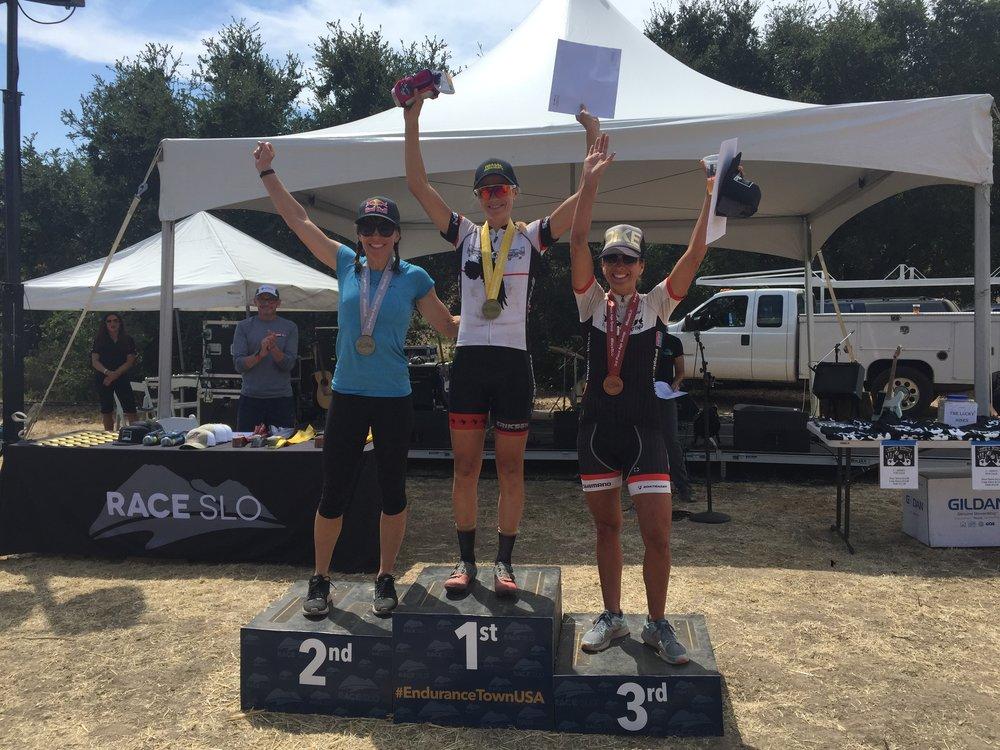 28 Mile podium finishers Hannah Bingham, Rebecca Rusch & Julianne Silva