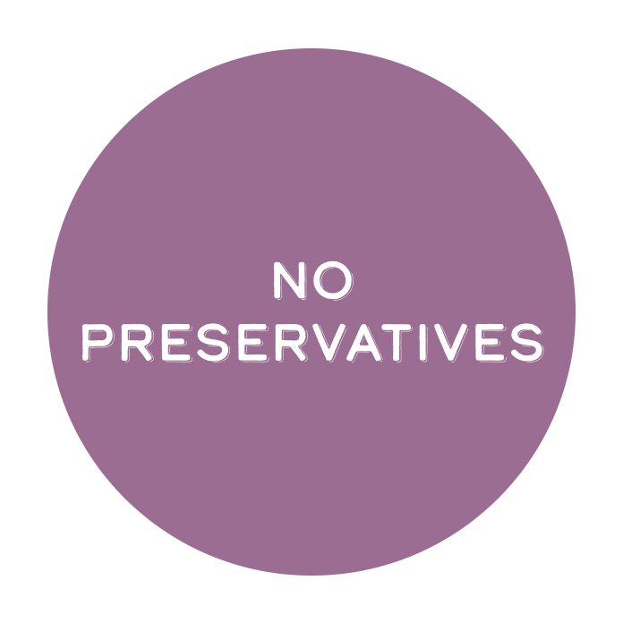 Never worry about us putting any preservatives, artificial flavors, or harmful chemicals in our products!