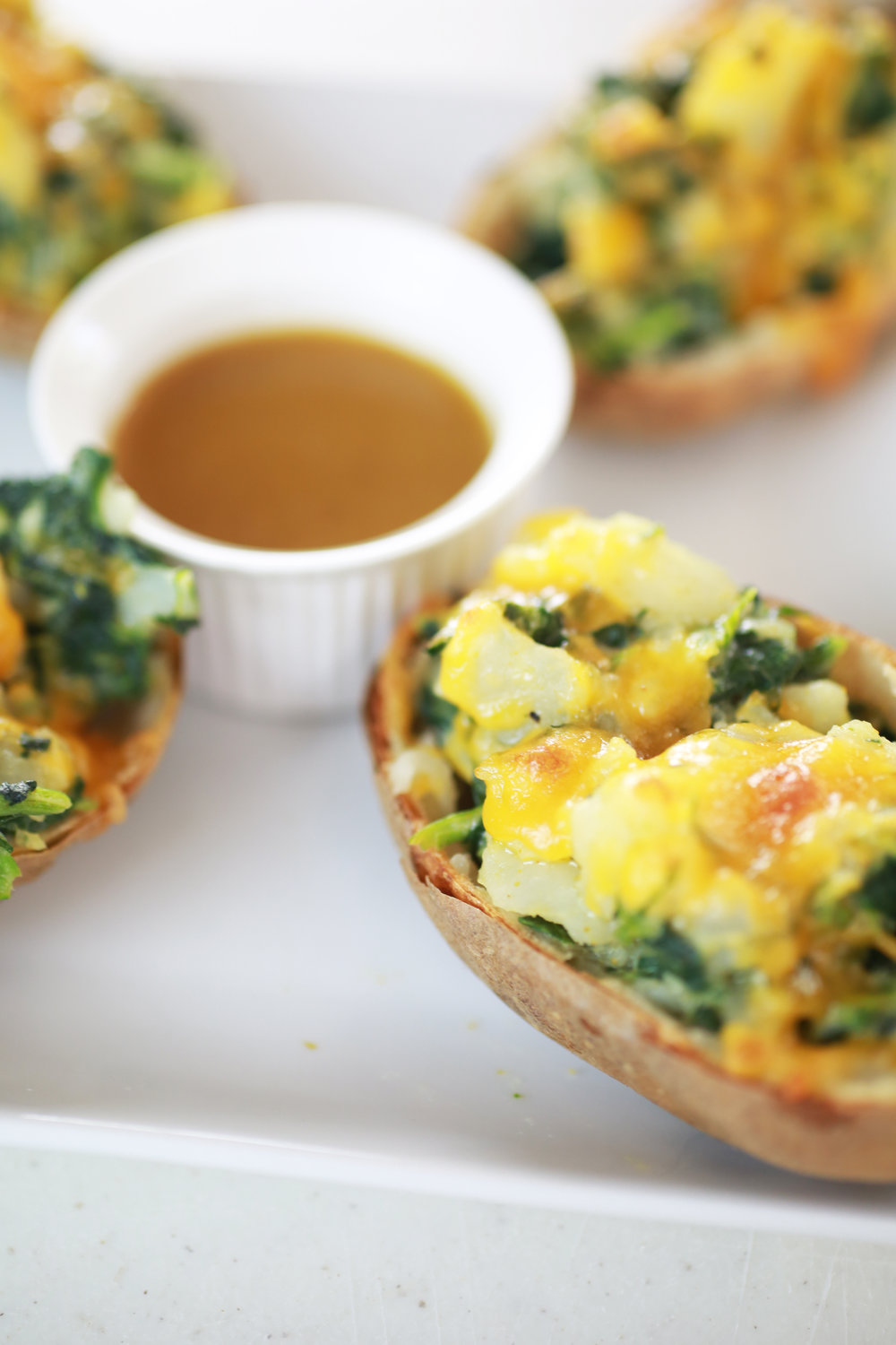 Spinach and Cheese Stuffed Potatoes