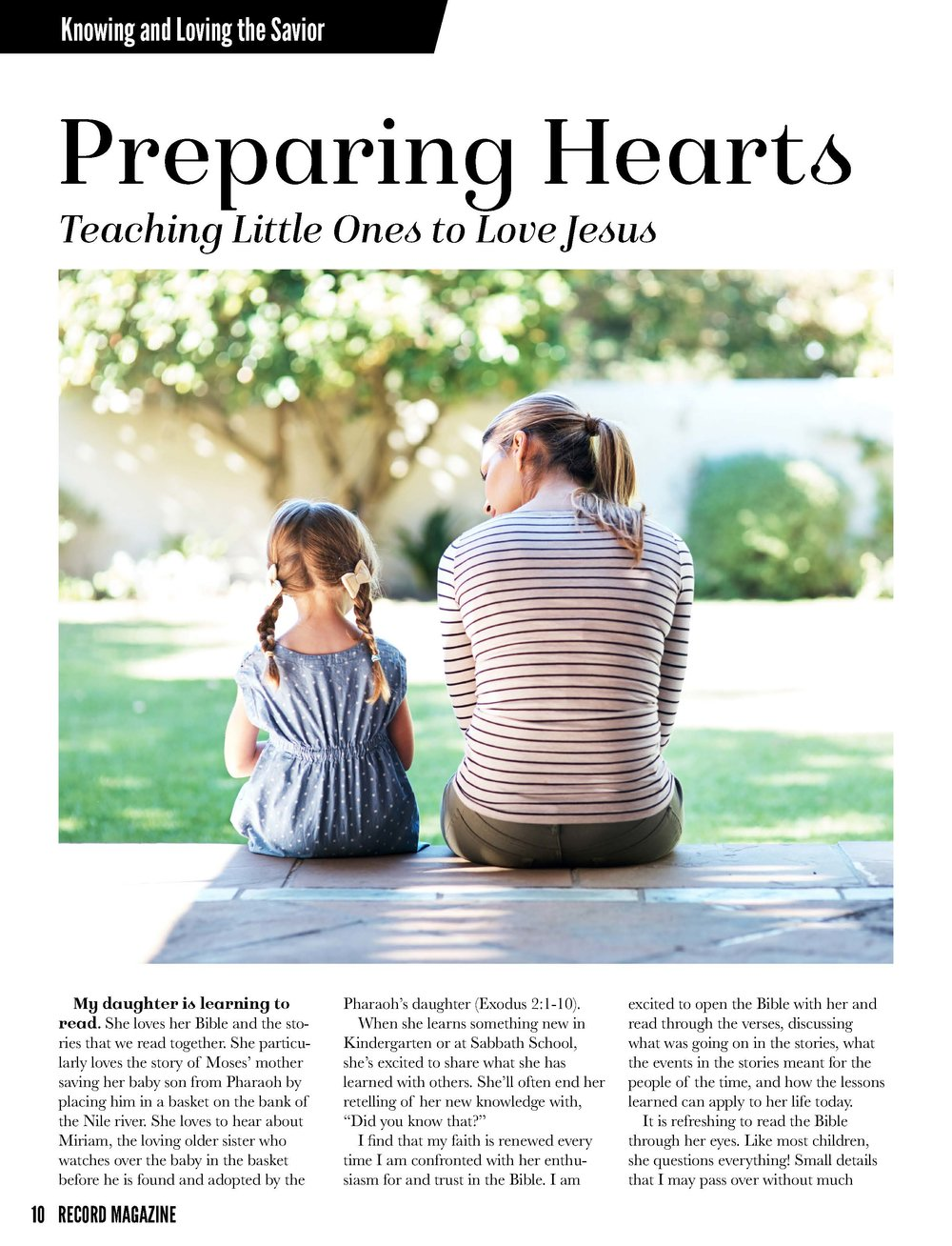 Writing: Feature (Shortform) – Best in Class    Preparing Hearts: Teaching Little Ones to Love Jesus   Jessica Lozano  SOUTHWESTERN UNION
