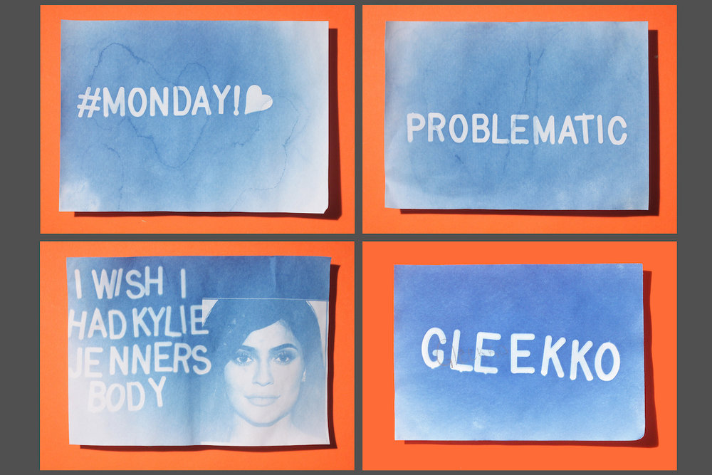 Student's cyanotypes made using favorite phrases and celebrities.jpg