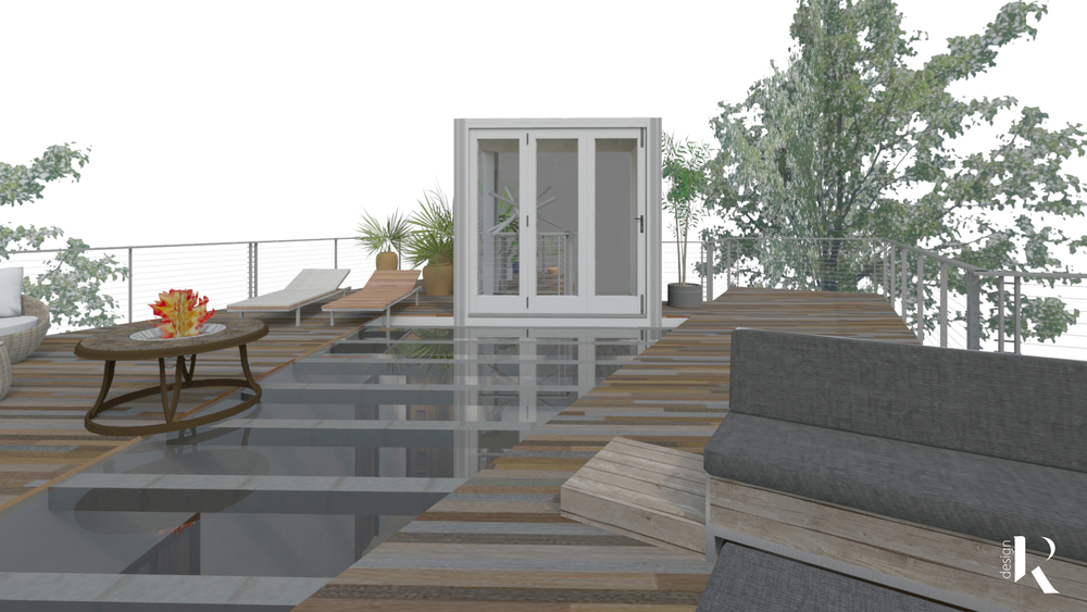 SHIPPING CONTAINER HOME  Rooftop Deck with Skylight