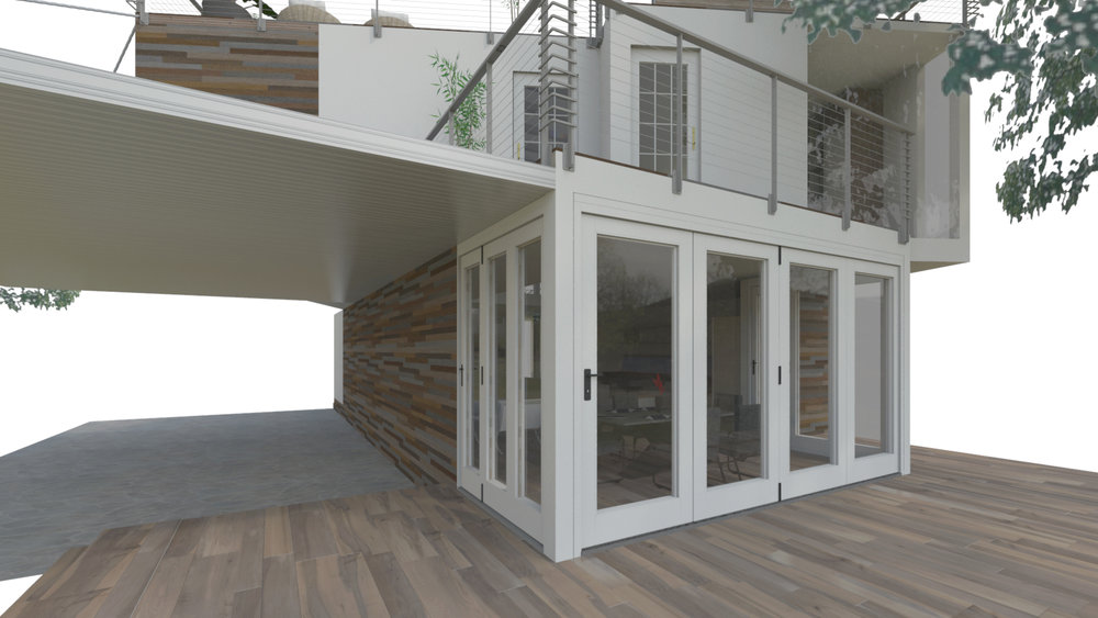 SHIPPING CONTAINER HOME  Back Patio Facing Dining and Master Bedroom with Shared Deck