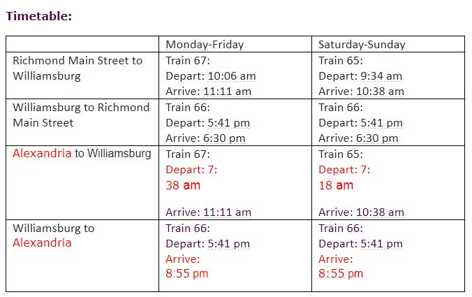 *Please note timetable has been updated to show information for Alexandria and not Union Station*