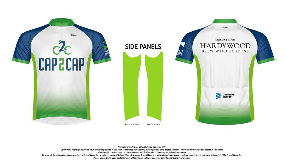 Official 2019 Cap2Cap Jersey Available for Purchase with Registration and on Ride Day.