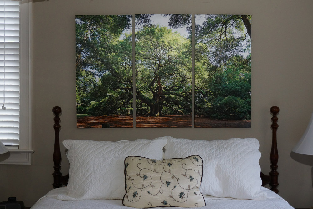 "Medium Triptych (32"" x 50"") over Queen Bed"