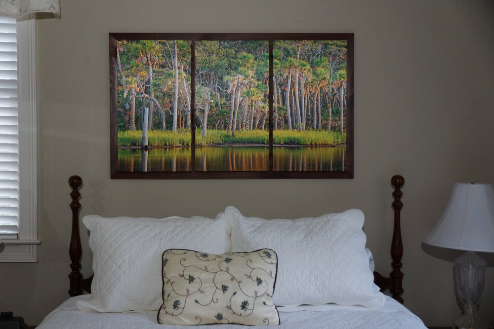 """Framed Small Triptych (28"""" x 47"""") over Queen Bed"""