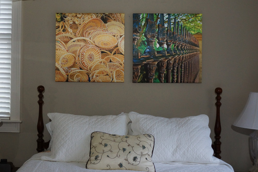 """Two 24"""" x  24"""" over Queen Bed"""