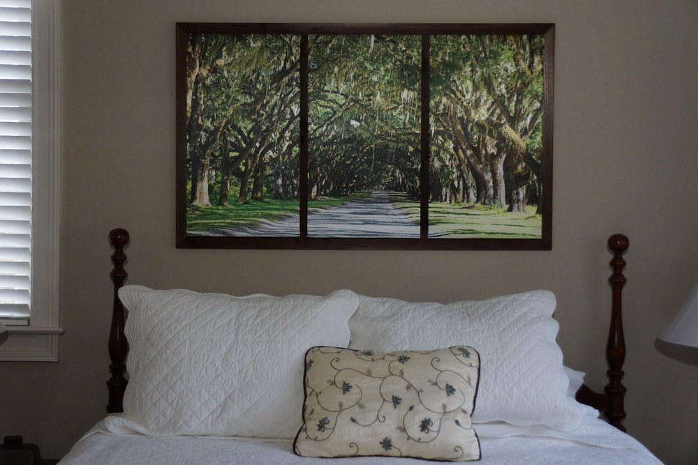 """Framed Small Triptych (25"""" x 42"""") over Queen bed"""