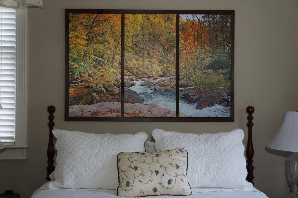 "Framed Medium Triptych (32"" x 48"") over Queen Bed"