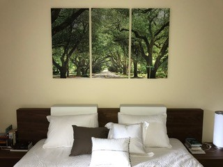"""Large Triptych (37"""" x 60"""") over King Bed"""