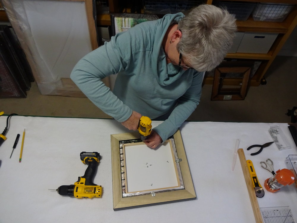 Drill pilots - Drill pilot holes, be careful not to drill too deep (don't ask me how I know this!) . Attach hardware with framing screws.