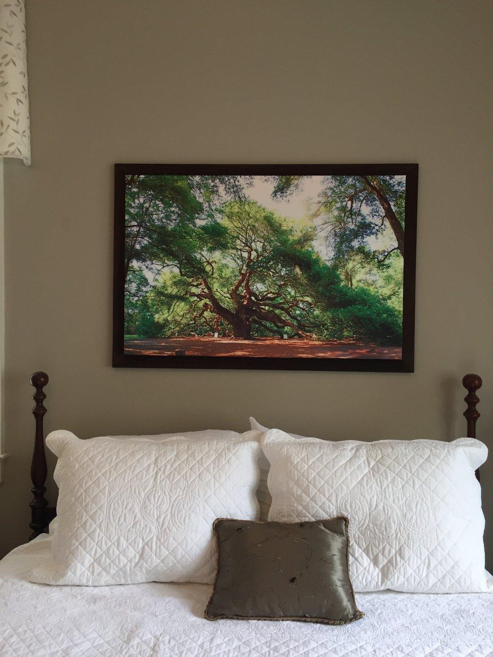 "Framed 26"" x 40"" over Queen Bed"