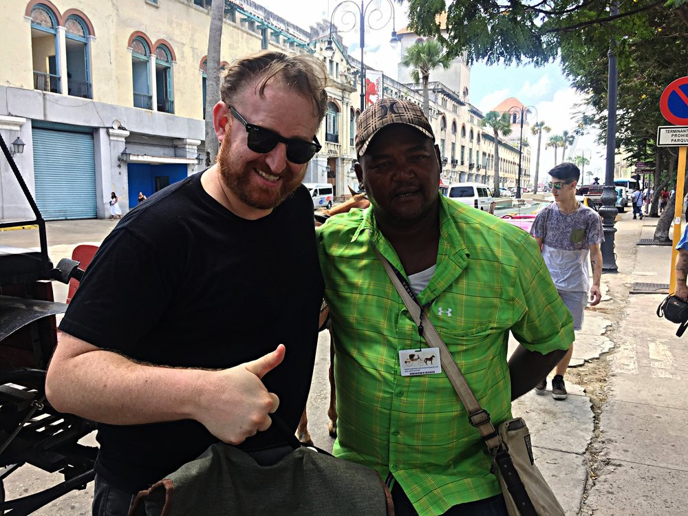 One of the best tour guides in Havana at the Plaza de San Francisco. He told us families were not allowed to openly celebrate Christmas until 1998! -