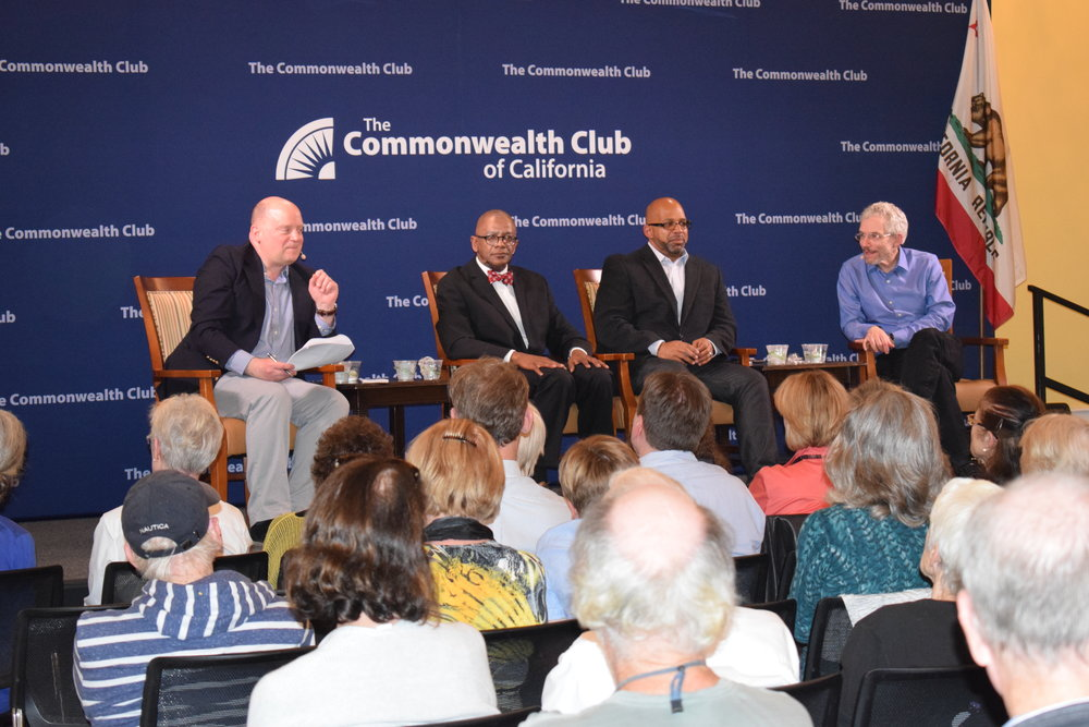 Dan Borenstein (far right), Columnist and Editorial Writer, East Bay Times/Bay City News Group with Martin G. Reynolds (second to right), Co-executive Director, Robert C. Maynard Institute for Journalism Education, followed by Dr. James Taylor, University of San Francisco Political Science Professor, and John Zipperer, Vice President of Media & Editorial, Commonwealth Club