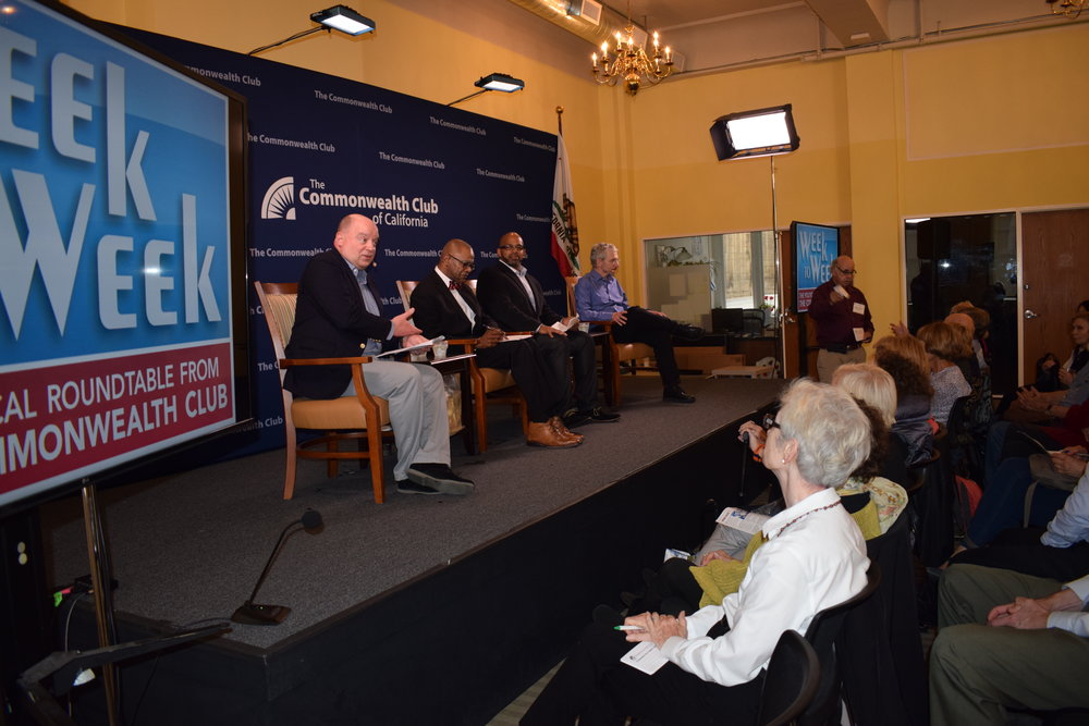 Moderator John Zipperer leads the discussion on Charlottesville, VA at the Commonwealth Club in San Francisco
