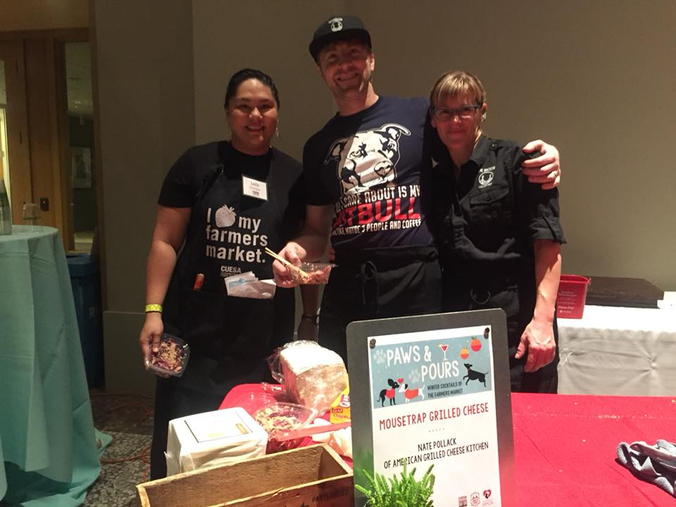 Hanging with Nate Pollak and Heidi Gibson  of the American Grilled Cheese Kitchen at CUESA's Paws & Pours in San Francisco.